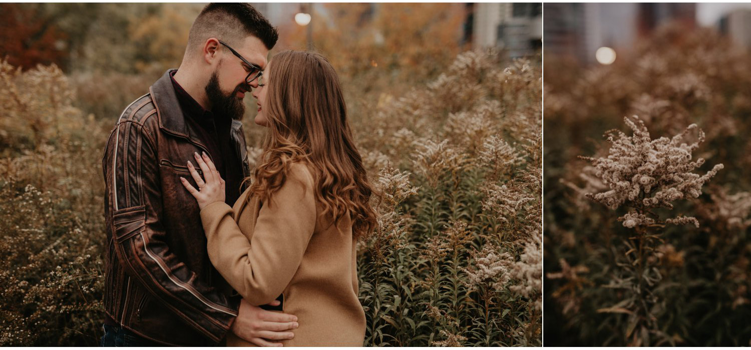 SteamWhistle Brewery Engagement - couple embrace near tall grass