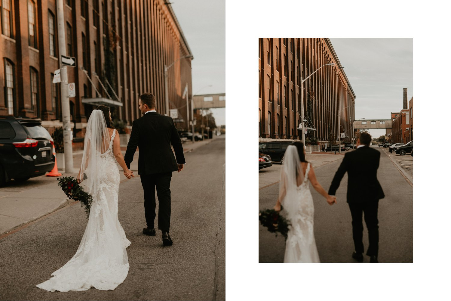 Liberty Village Wedding - bride and groom walk off into the sunset