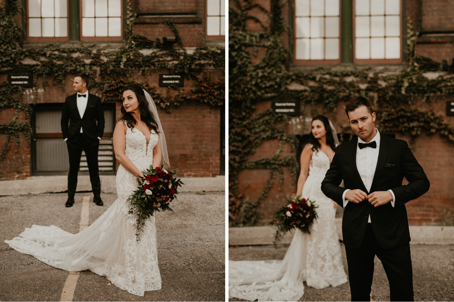 Caffino Wedding - bride and groom portraits near brick building with vines