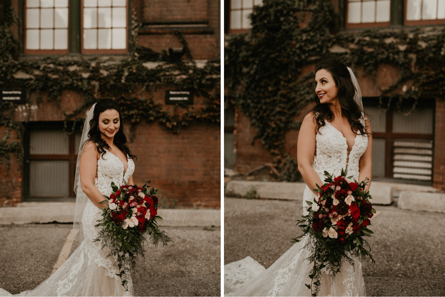Liberty Village Wedding - portrait of the bride in front of brick build with vines