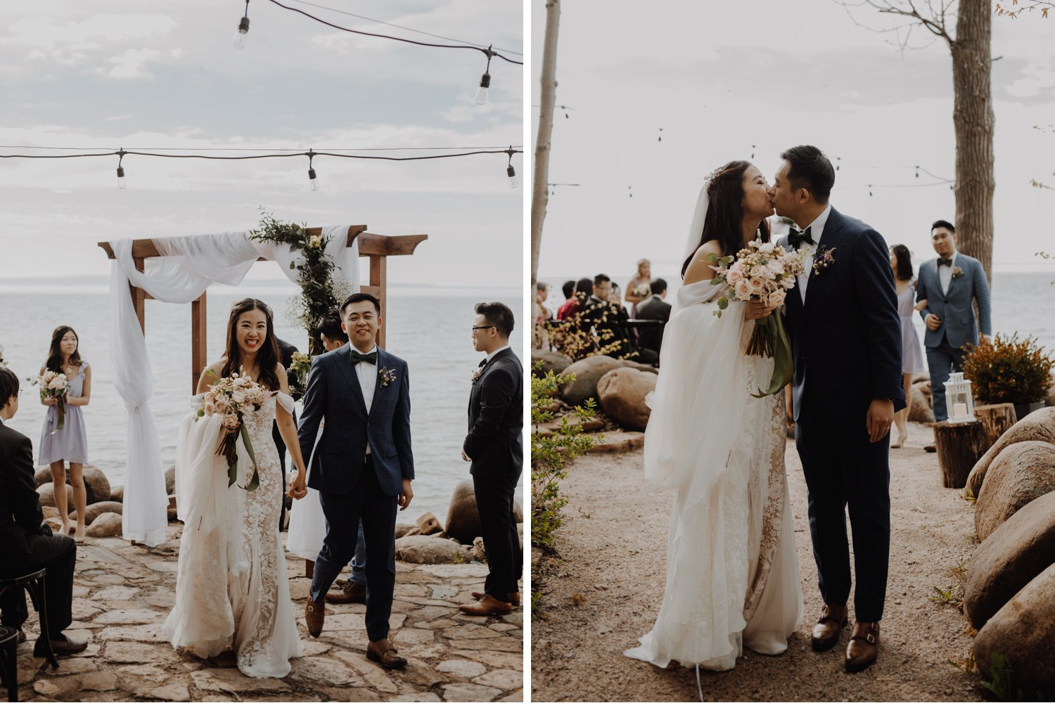 Serenity Cottage Wedding - newlyweds walking down the aisle and kissing