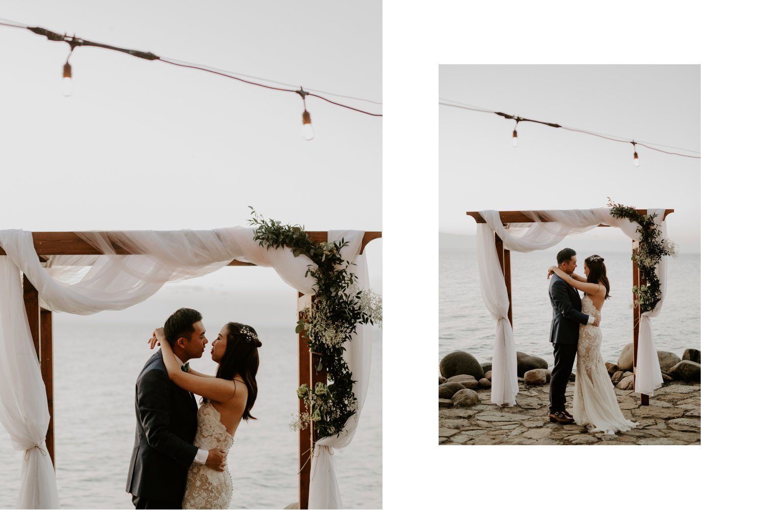 Serenity Cottage Wedding - portrait of bride and groom kissing at lakeside alter in Georgian Bay