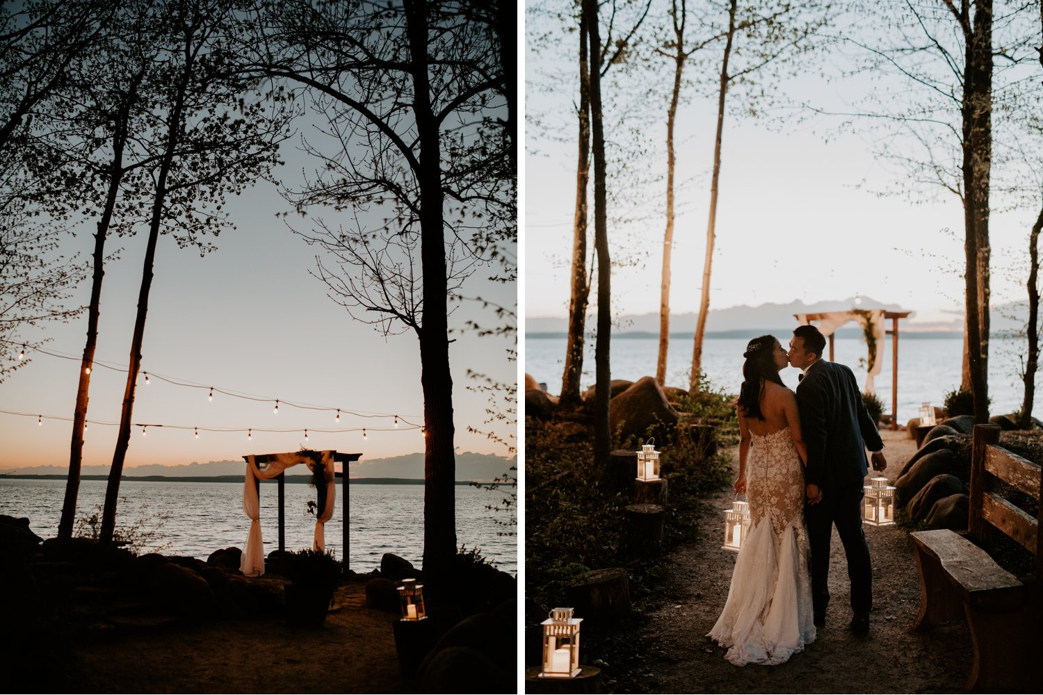 Serenity Cottage Wedding - bride and groom kissing near the lake at sunset