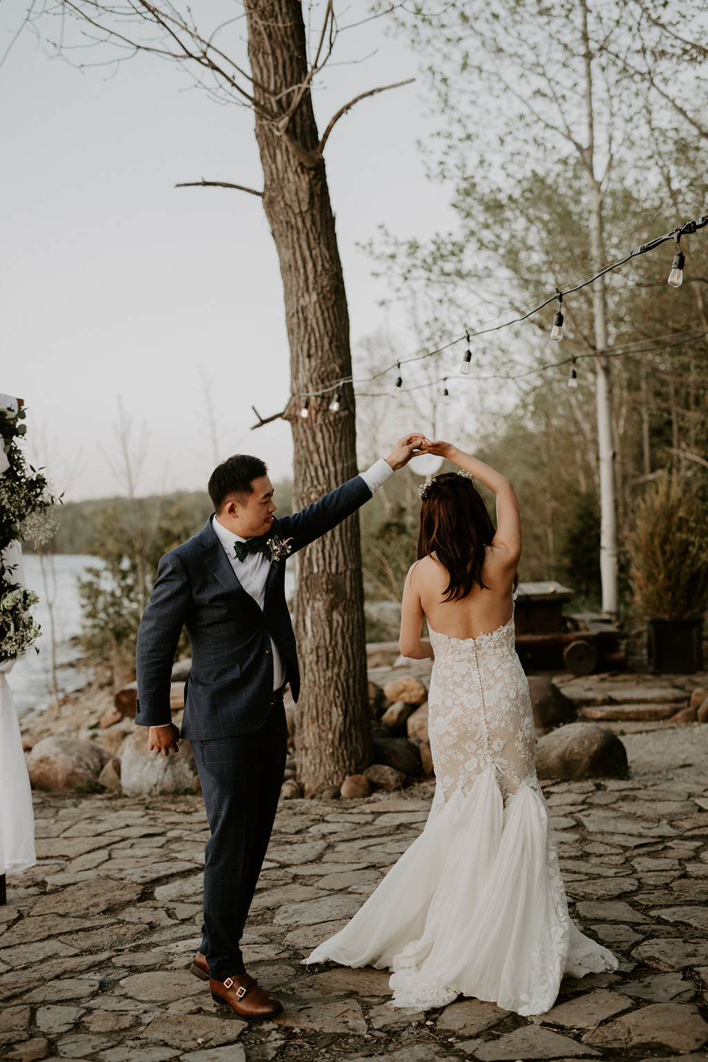 Serenity Cottage Wedding - Bride and groom dancing on the beach