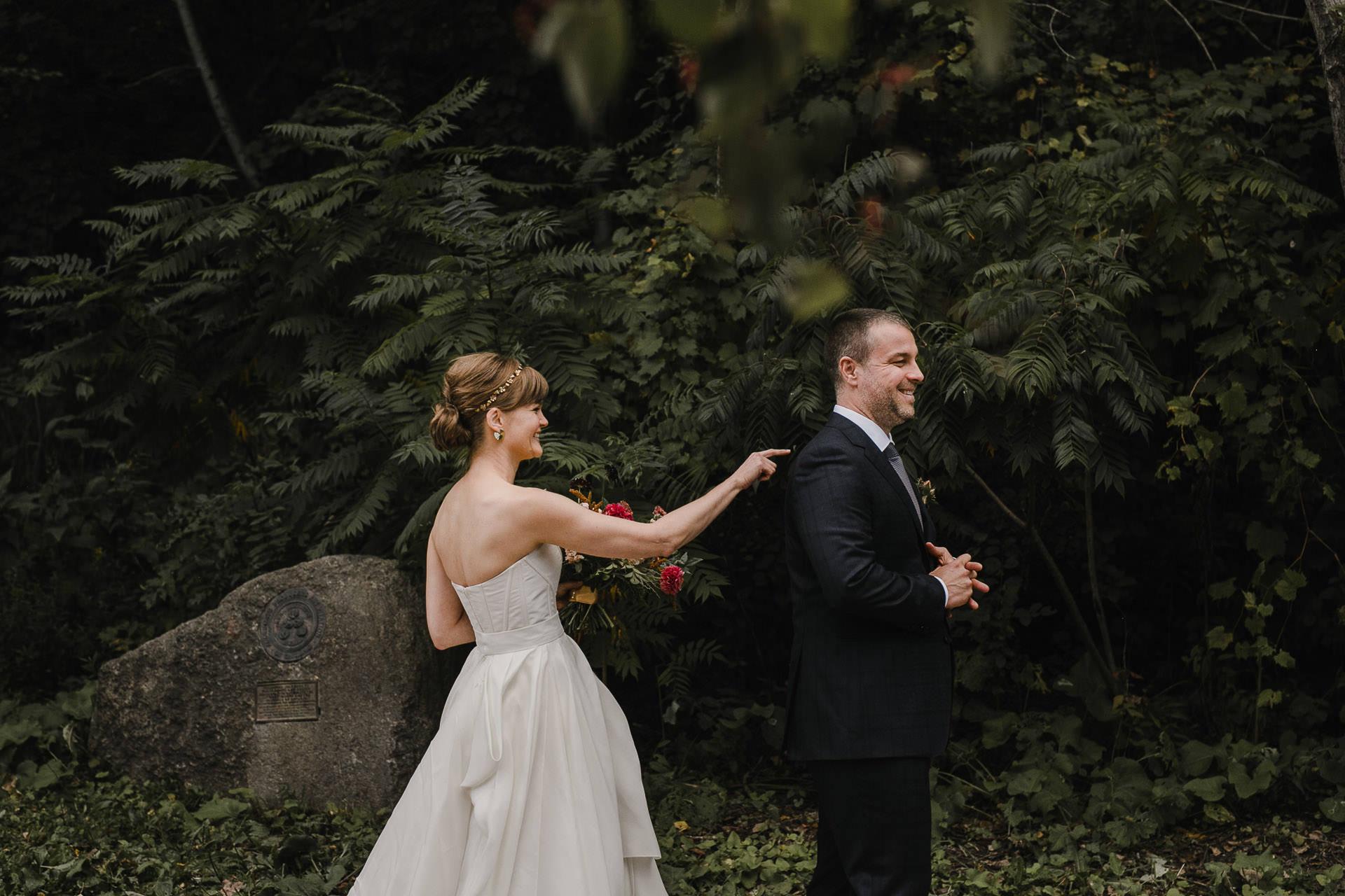 Evergreen Brickworks wedding photographer - first look