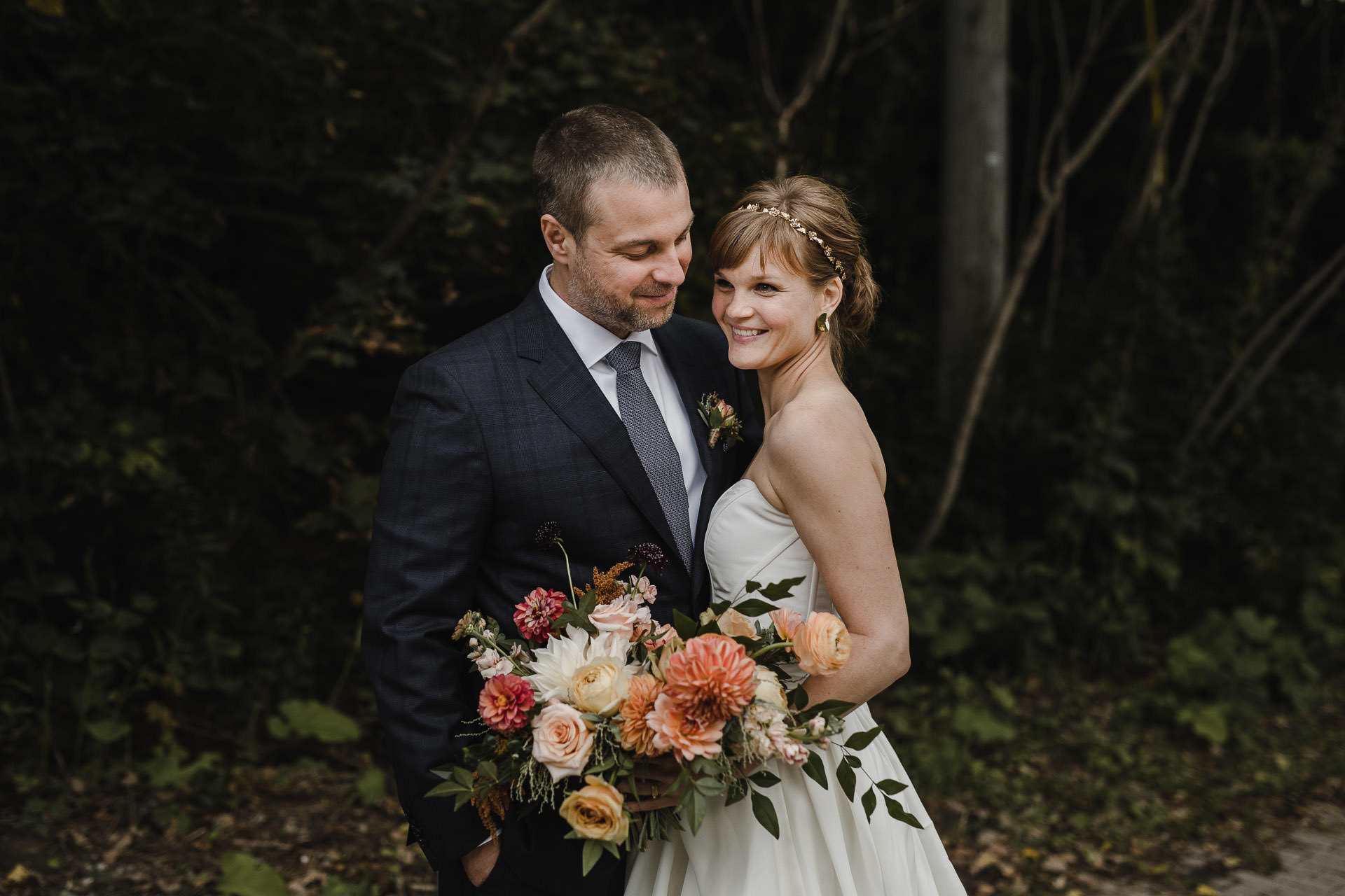 Evergreen Brickworks wedding photographer - bride and groom portrait in the forest