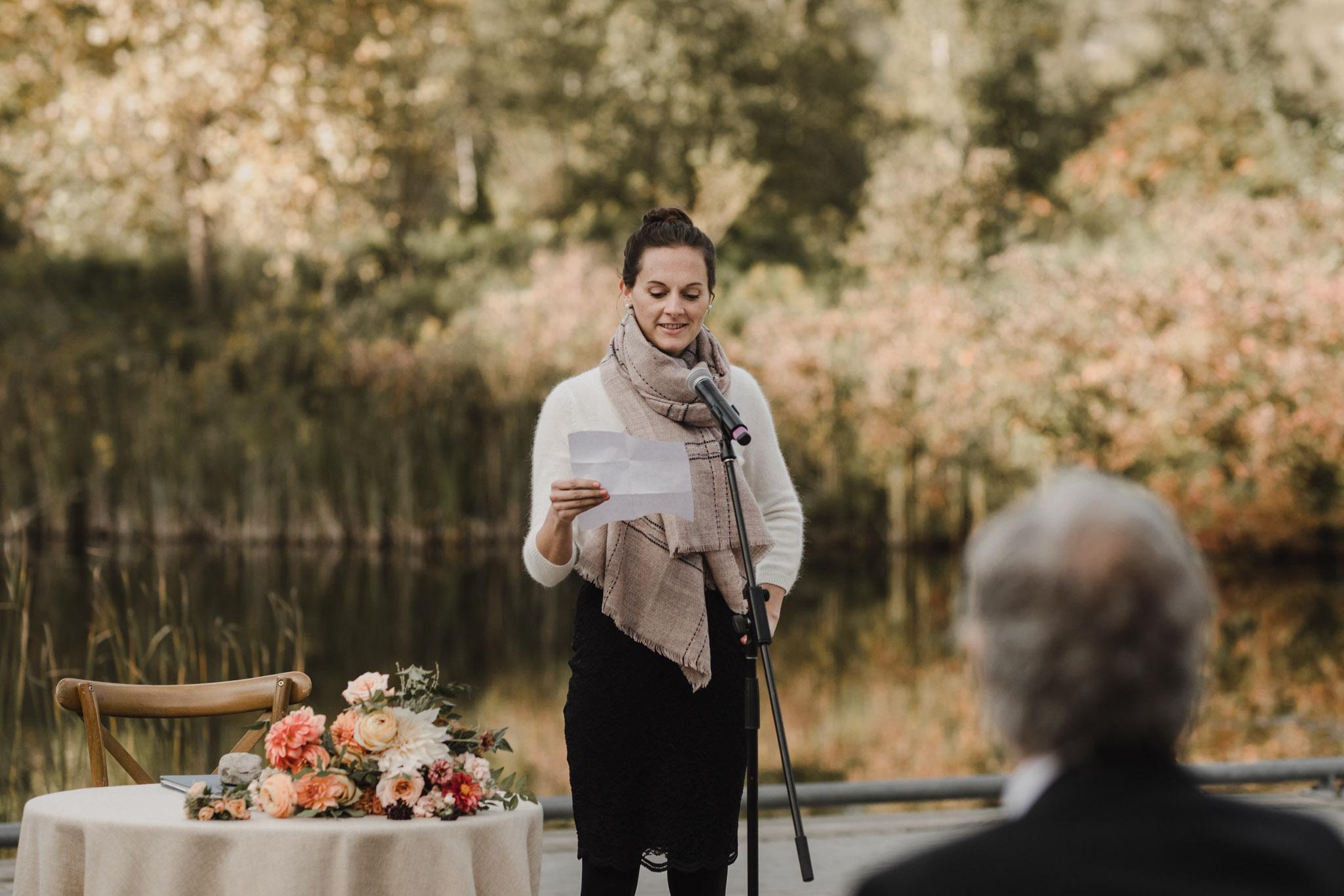 Evergreen Brickworks wedding photographer - guest giving a speech