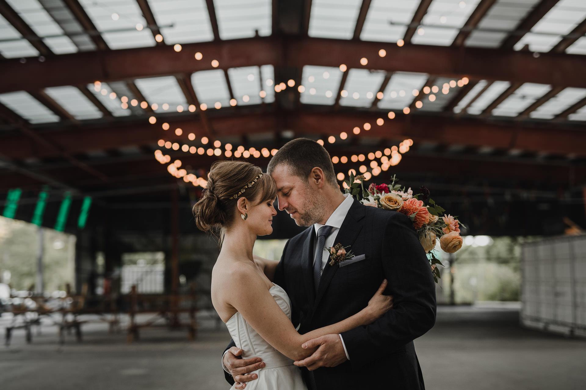 Evergreen Brickworks wedding photographer - urban wedding portrait