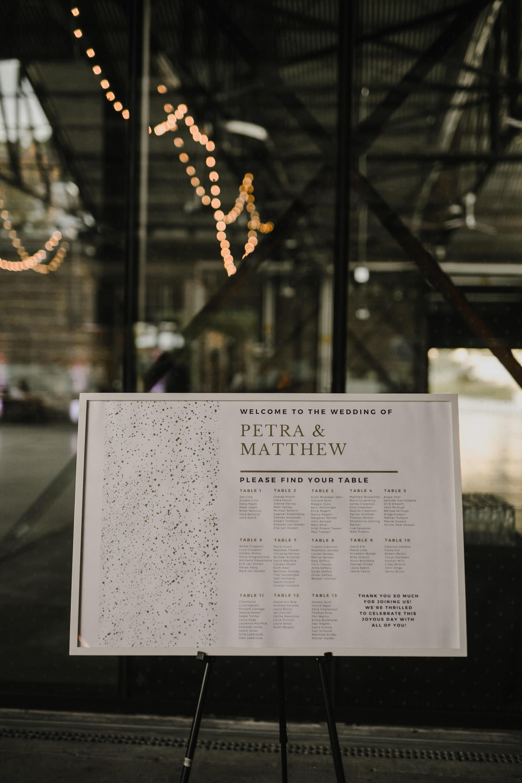 Evergreen Brickworks wedding photographer - seating chart