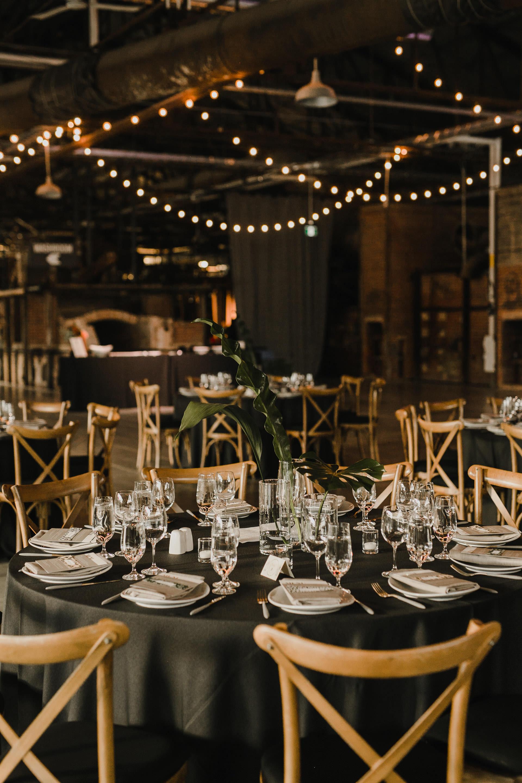 Evergreen Brickworks wedding photographer - reception decor