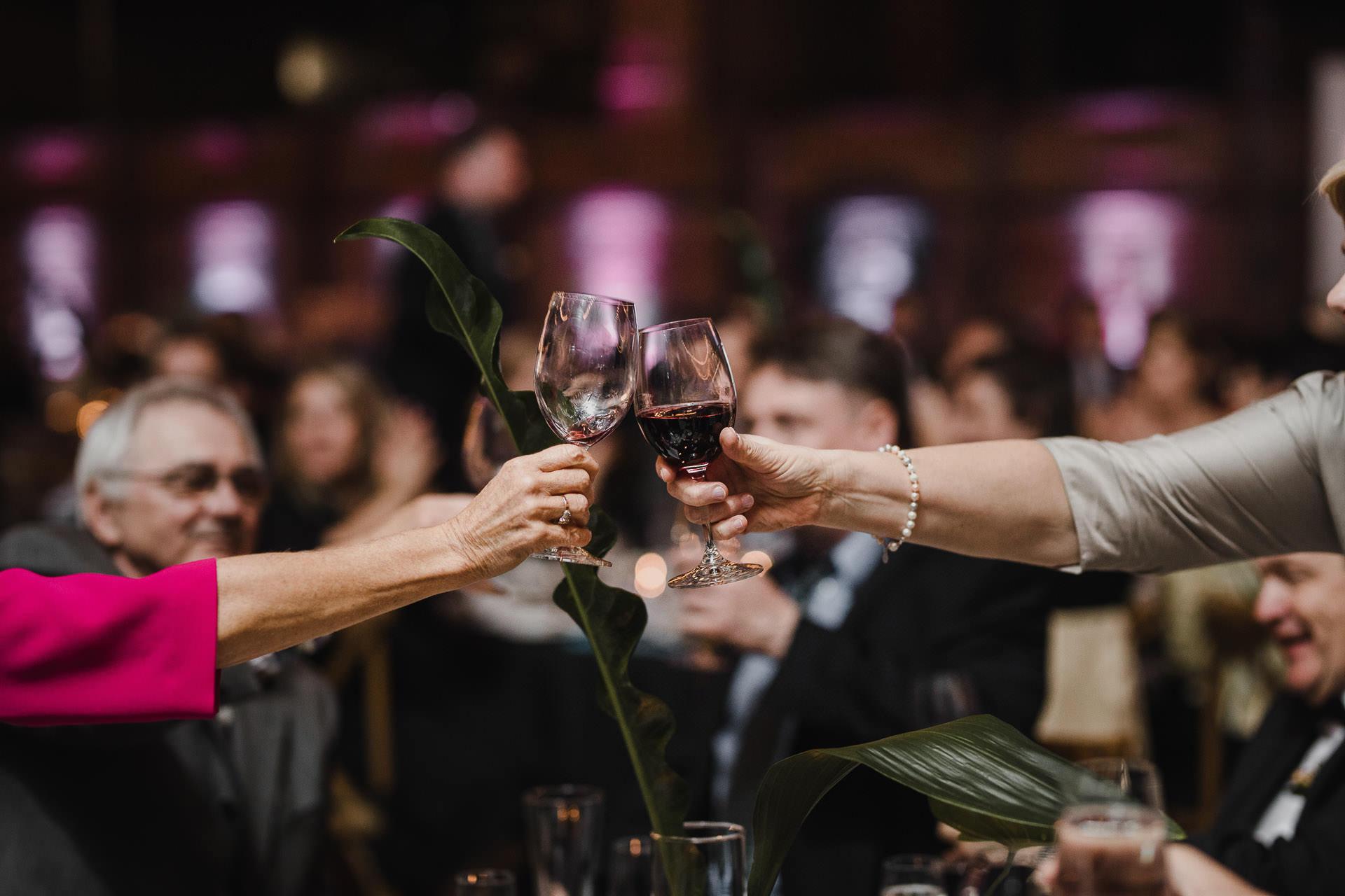 Evergreen Brickworks wedding photographer - cheers