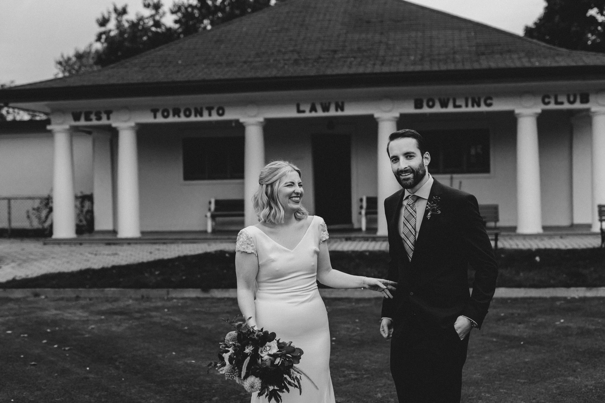 Toronto Coffee Shop Wedding - laughing during portraits