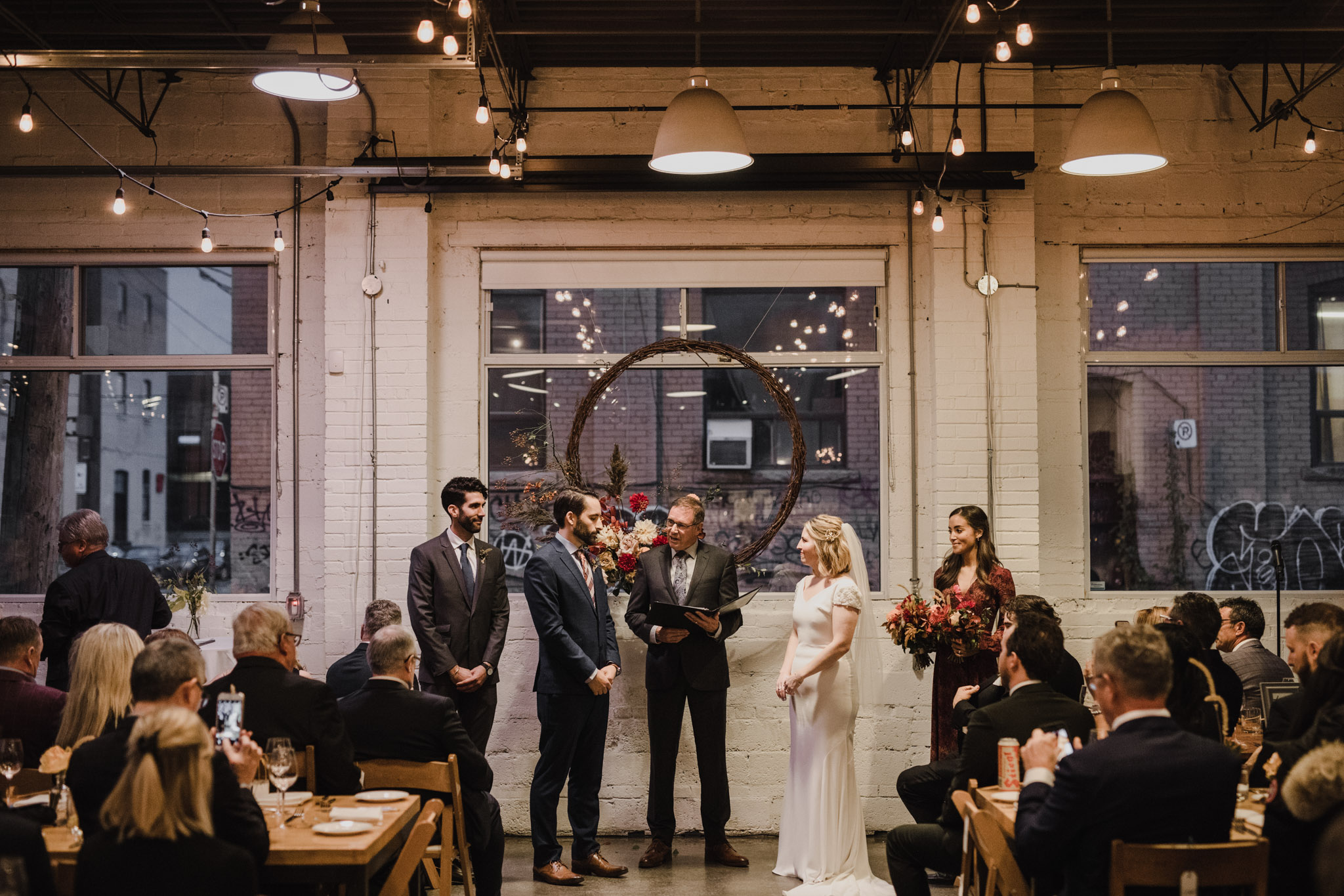 Toronto Coffee Shop Wedding - Propeller cafe - at the alter
