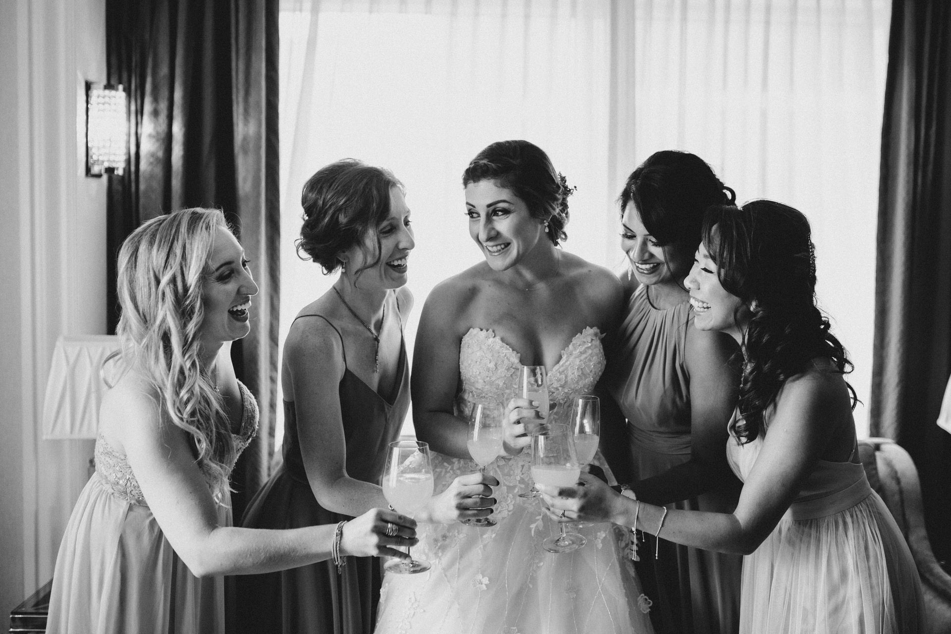 Berkeley Church Wedding - cheers with the brides maids