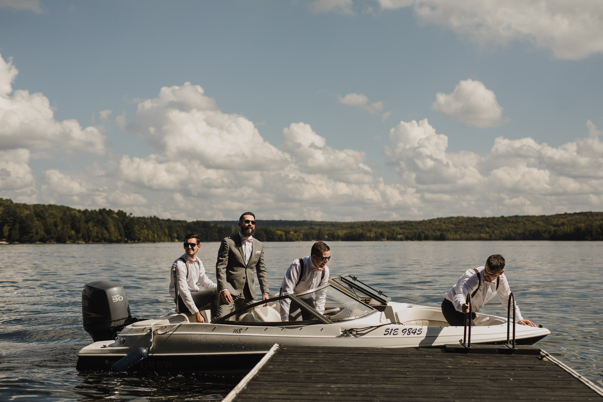 Muskoka Wedding - arriving by boat