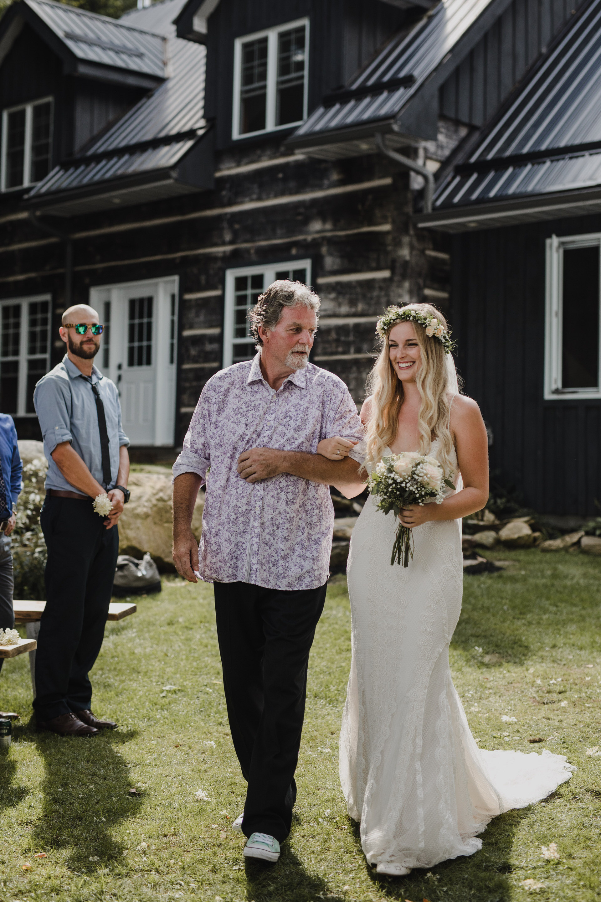 Muskoka Wedding - walking down the aisle