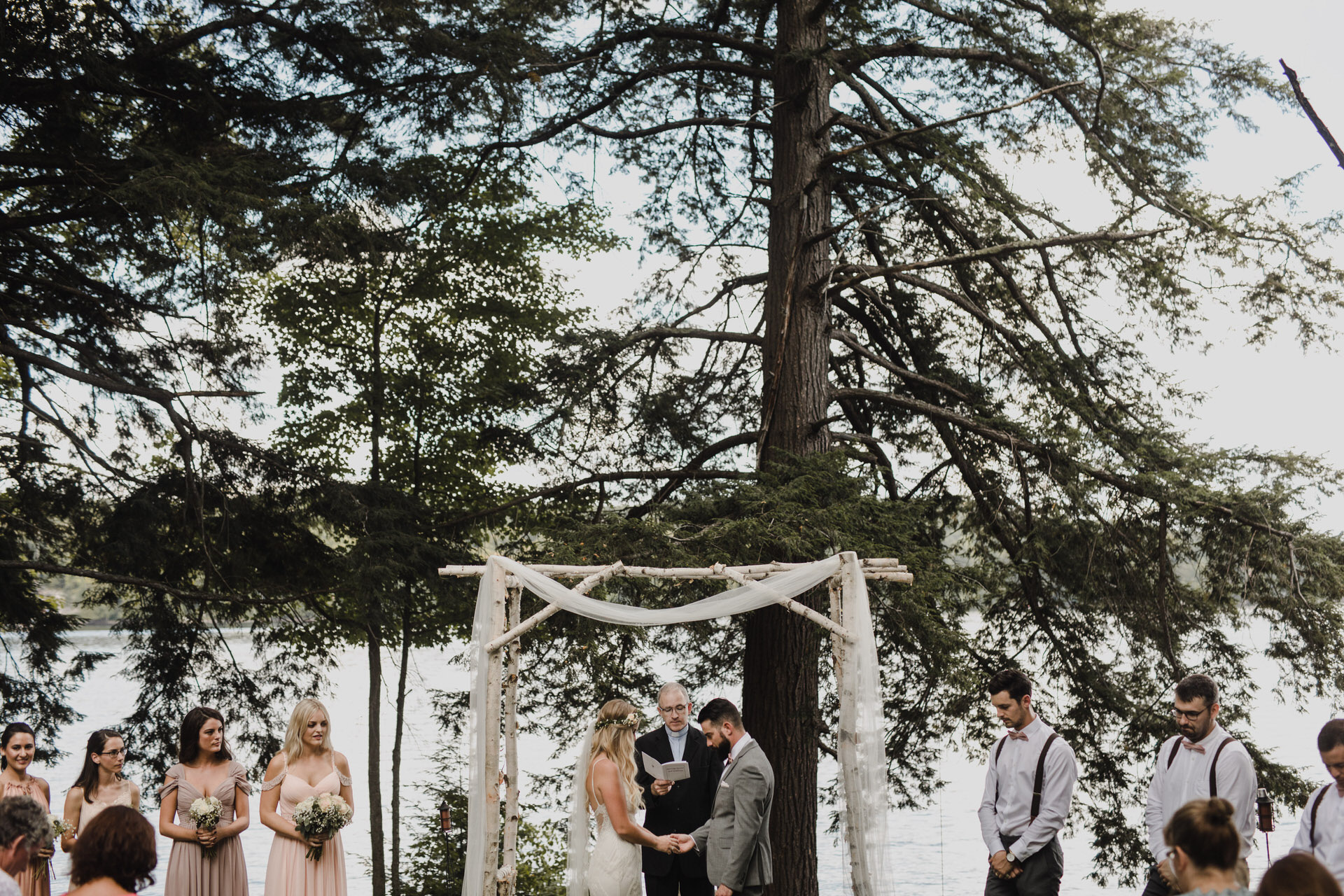 Muskoka Wedding - evergreen alter