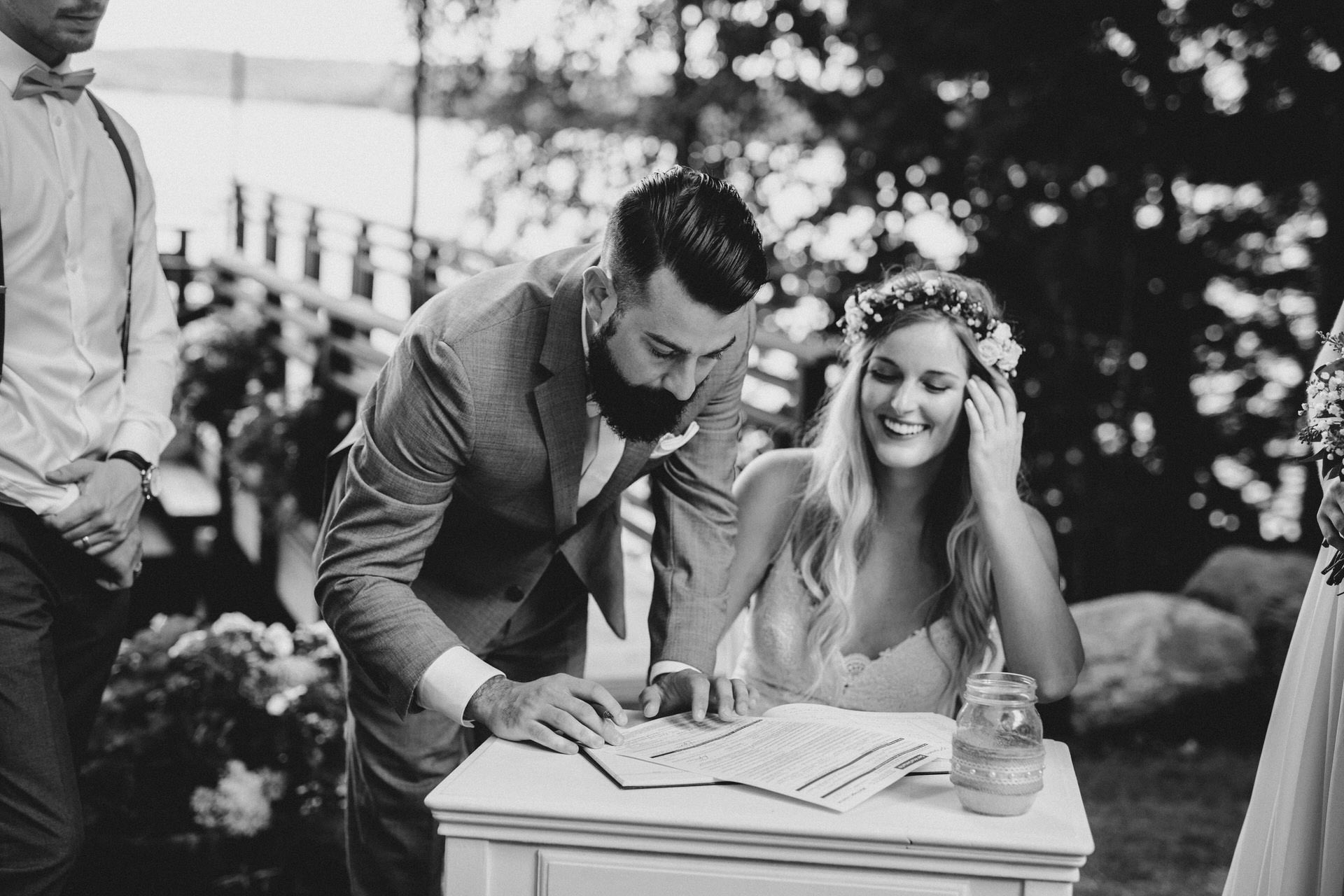 Muskoka Wedding - signing papers