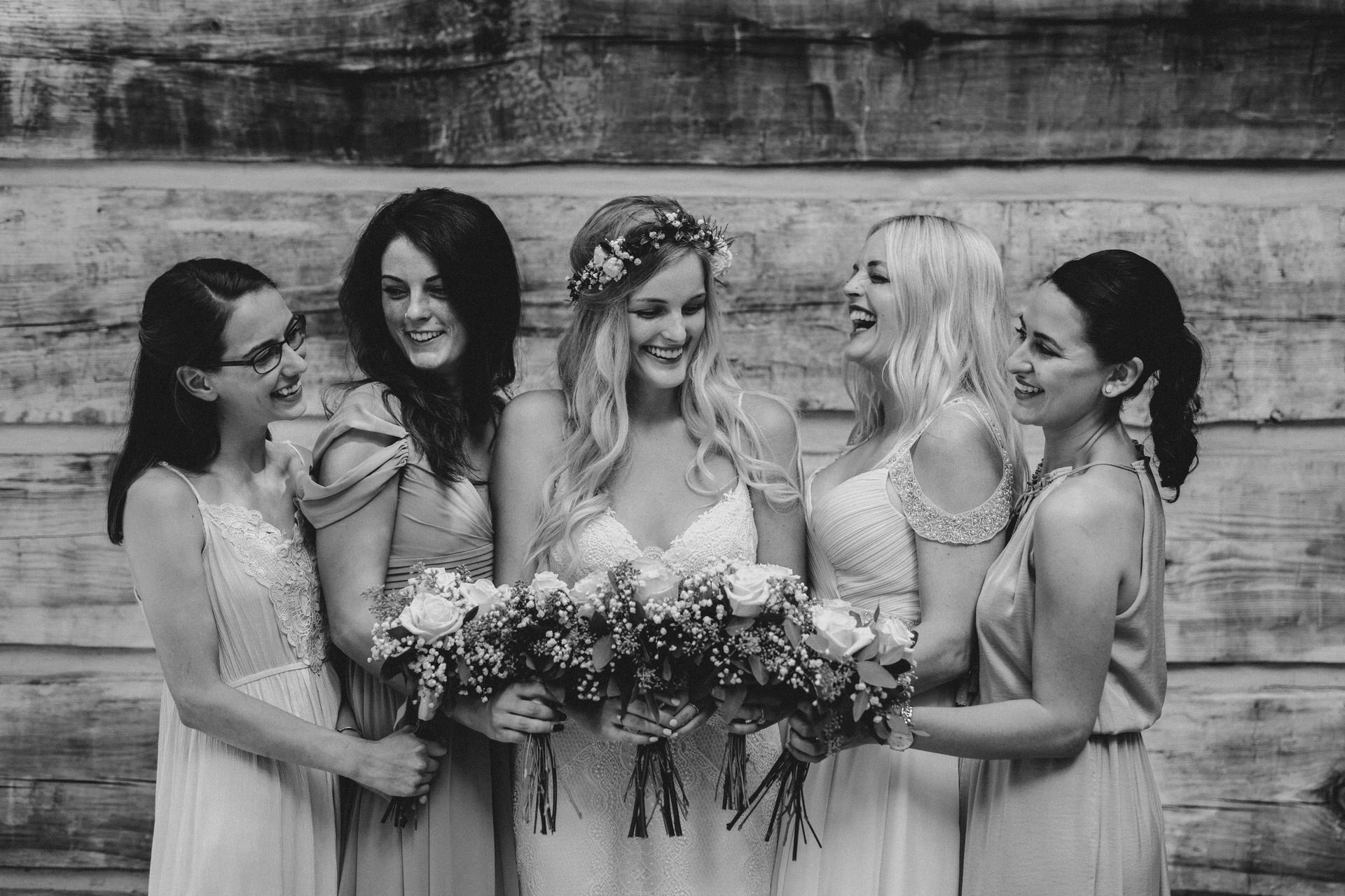 Muskoka Wedding - black and white bridal party