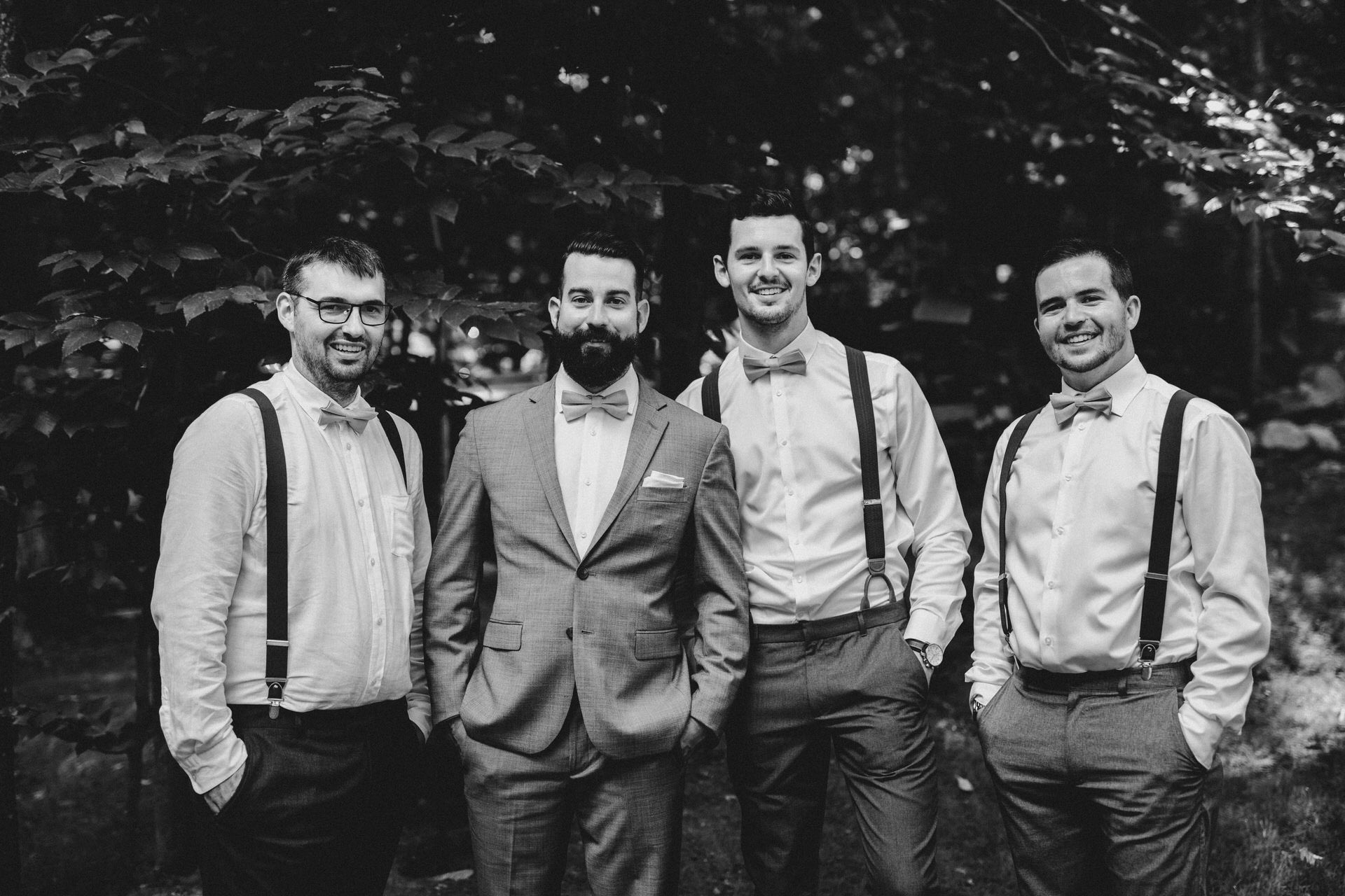 Muskoka Wedding - groomsmen black and white