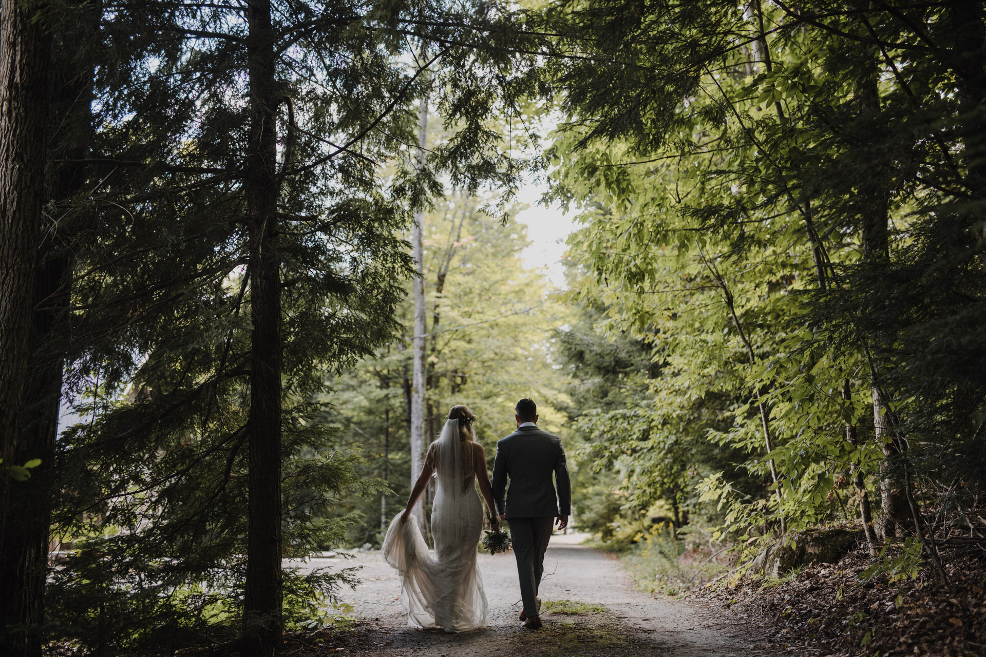 Muskoka Wedding - bride and groom in the forest