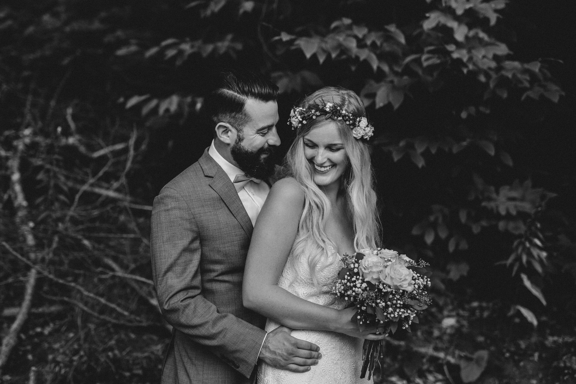 Muskoka Wedding - black and white embrace