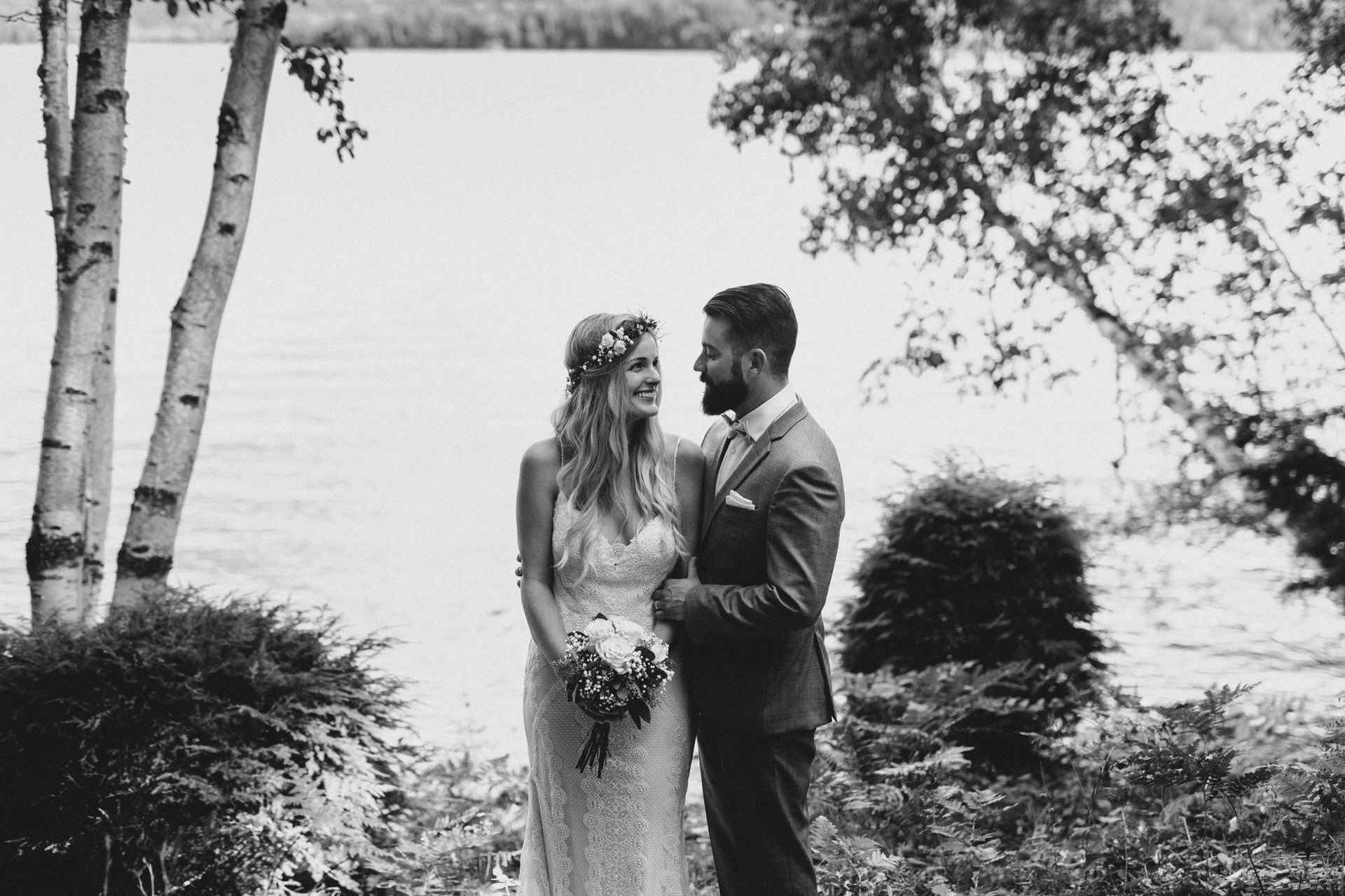 Muskoka Wedding - black and white forest portrait