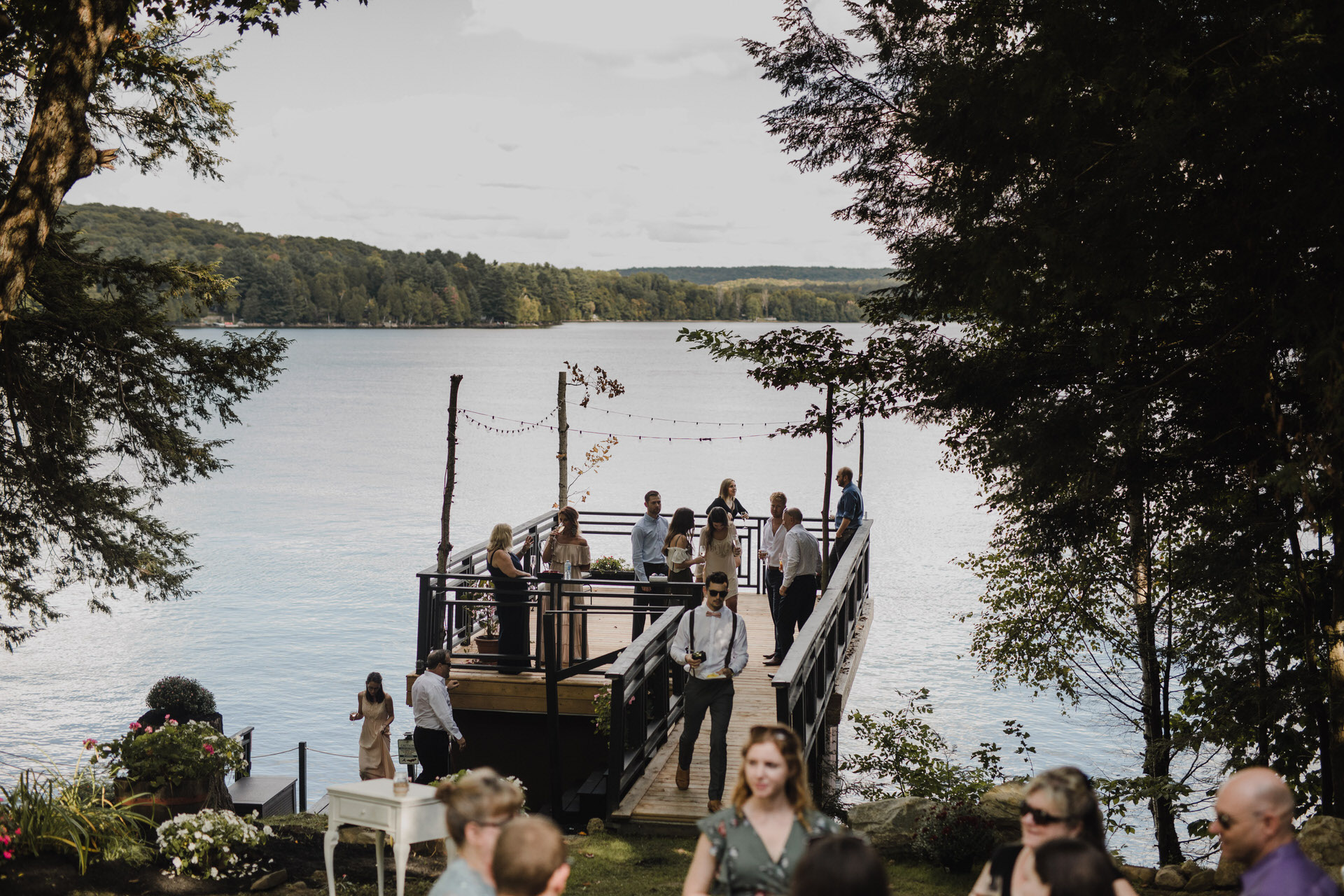 Muskoka Wedding - party on the dock