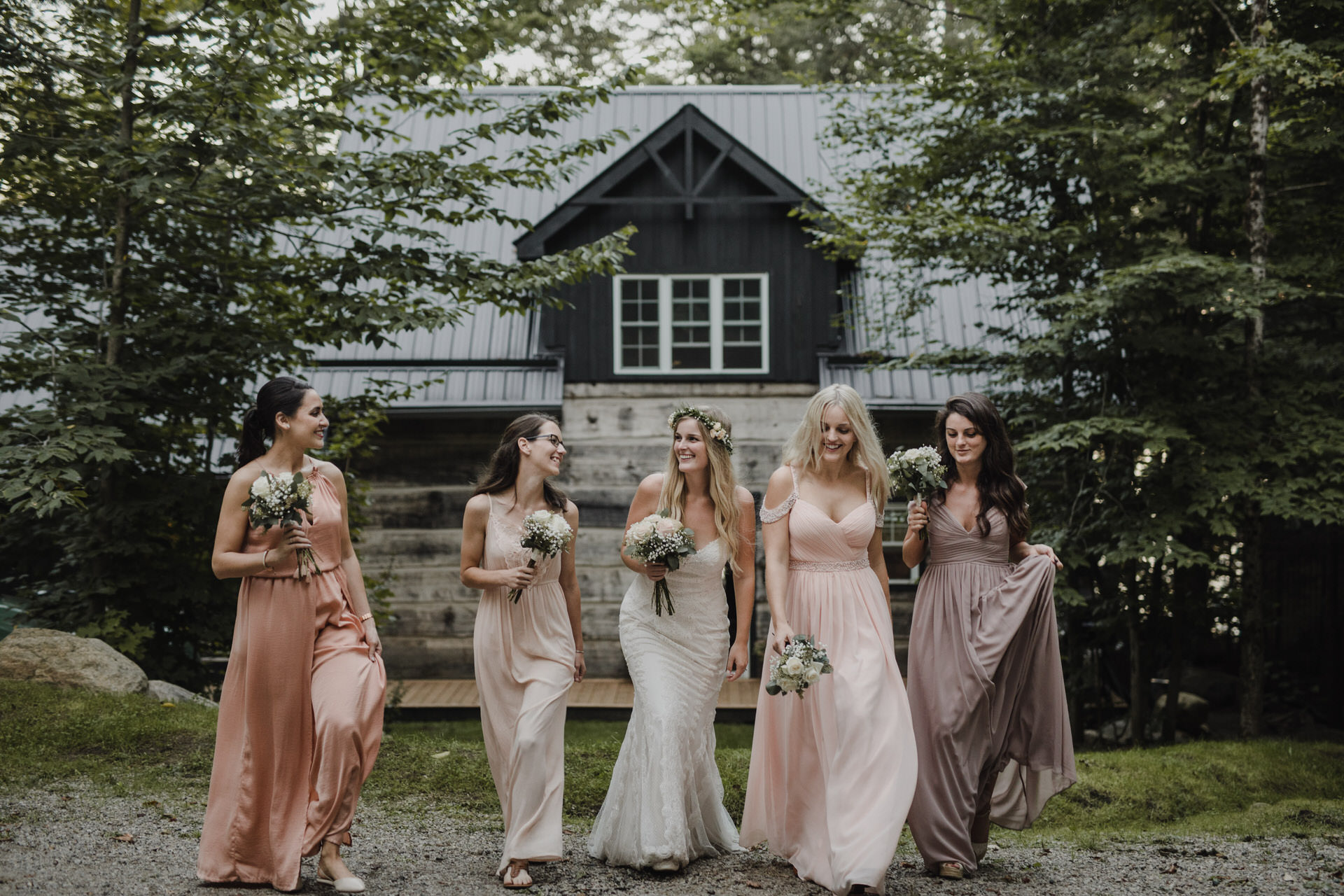 Muskoka Wedding - bridal party at the cottage