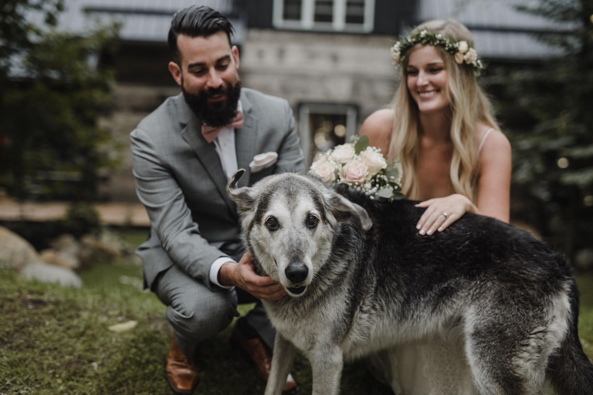 Muskoka Wedding - bride and groom with their dog