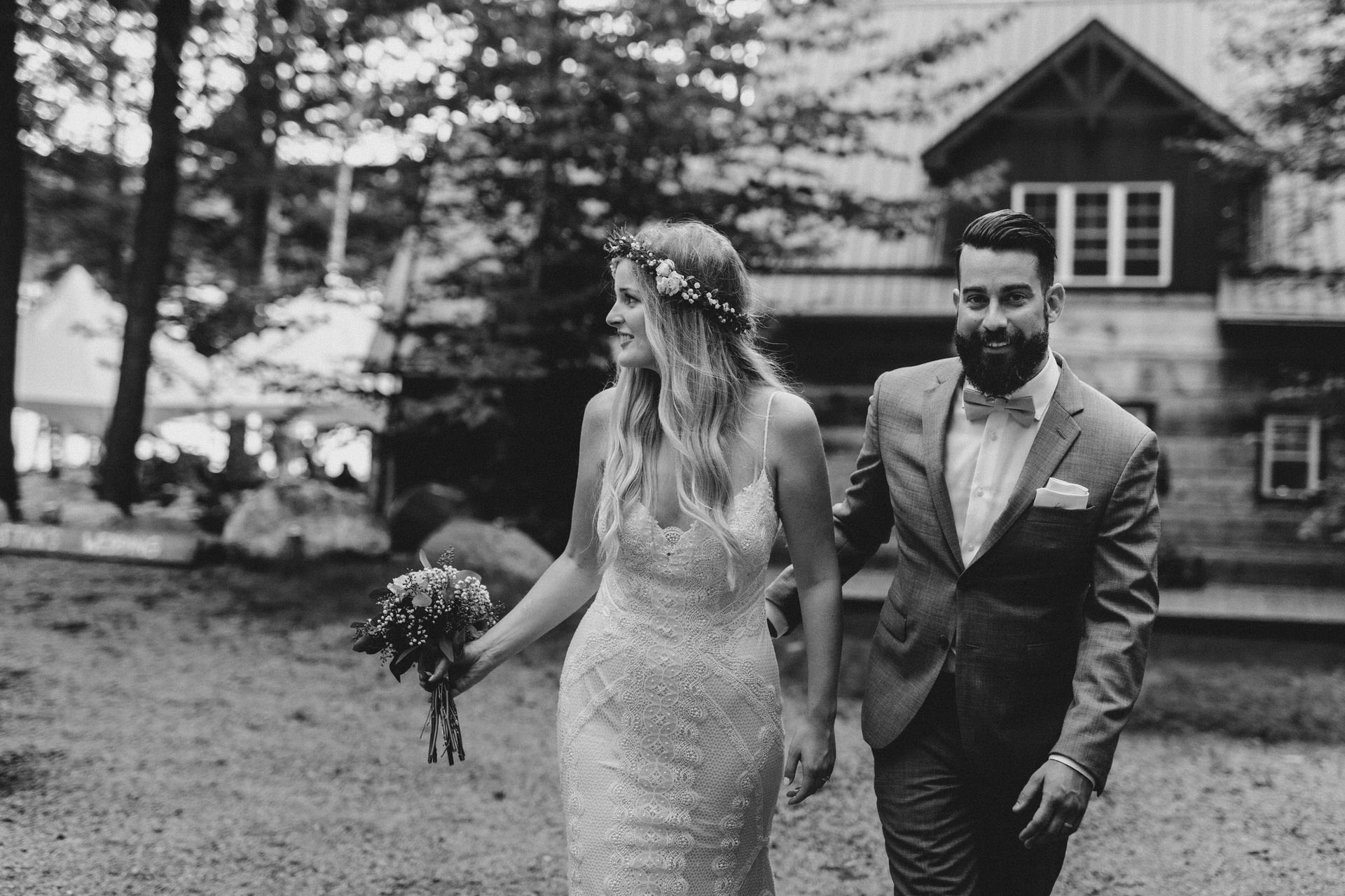 Muskoka Wedding - bride and groom black and white
