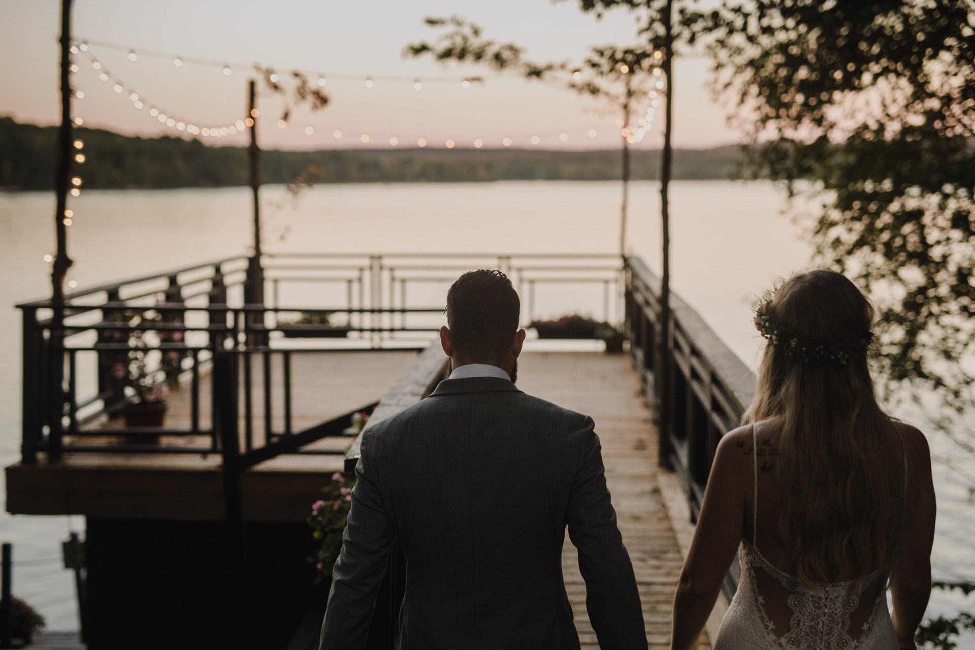 Muskoka Wedding - sunset on the dock