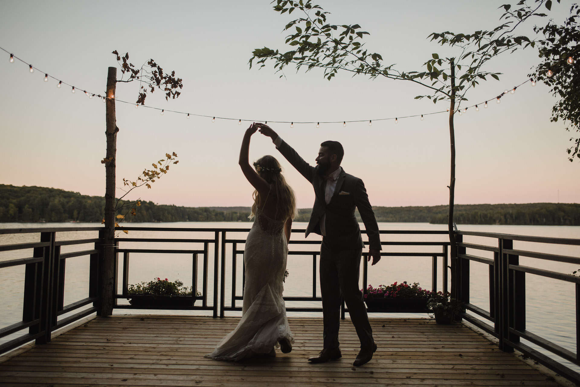 Muskoka Wedding - first dance on the dock