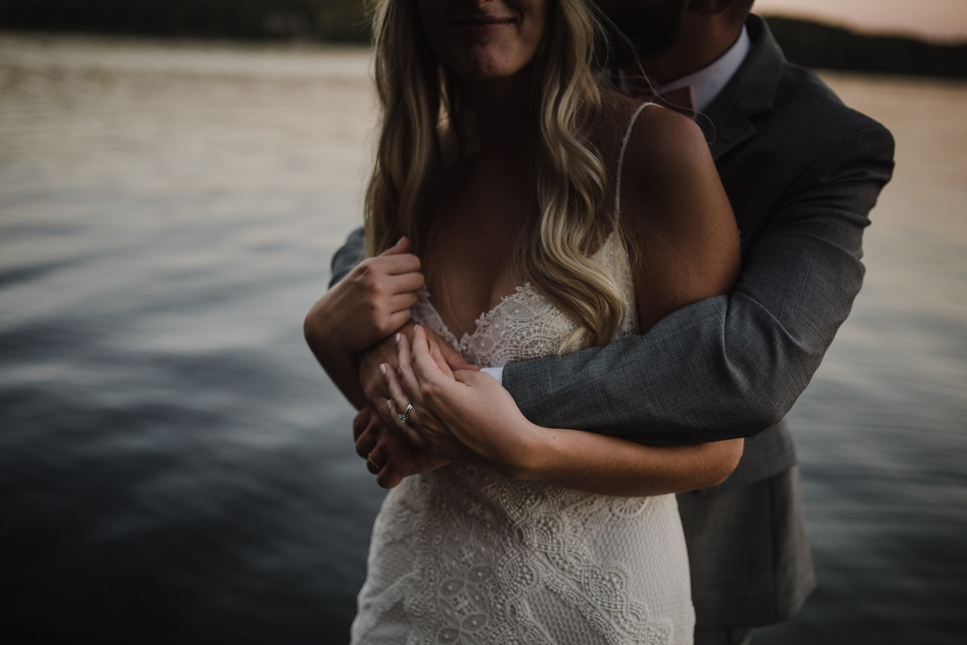 Muskoka Wedding - embracing by the lake