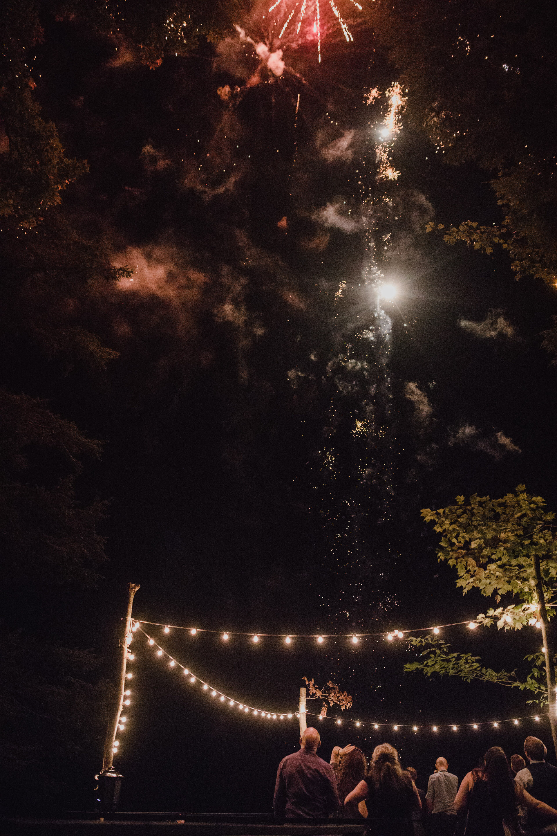 Muskoka Wedding - fireworks at the cottage