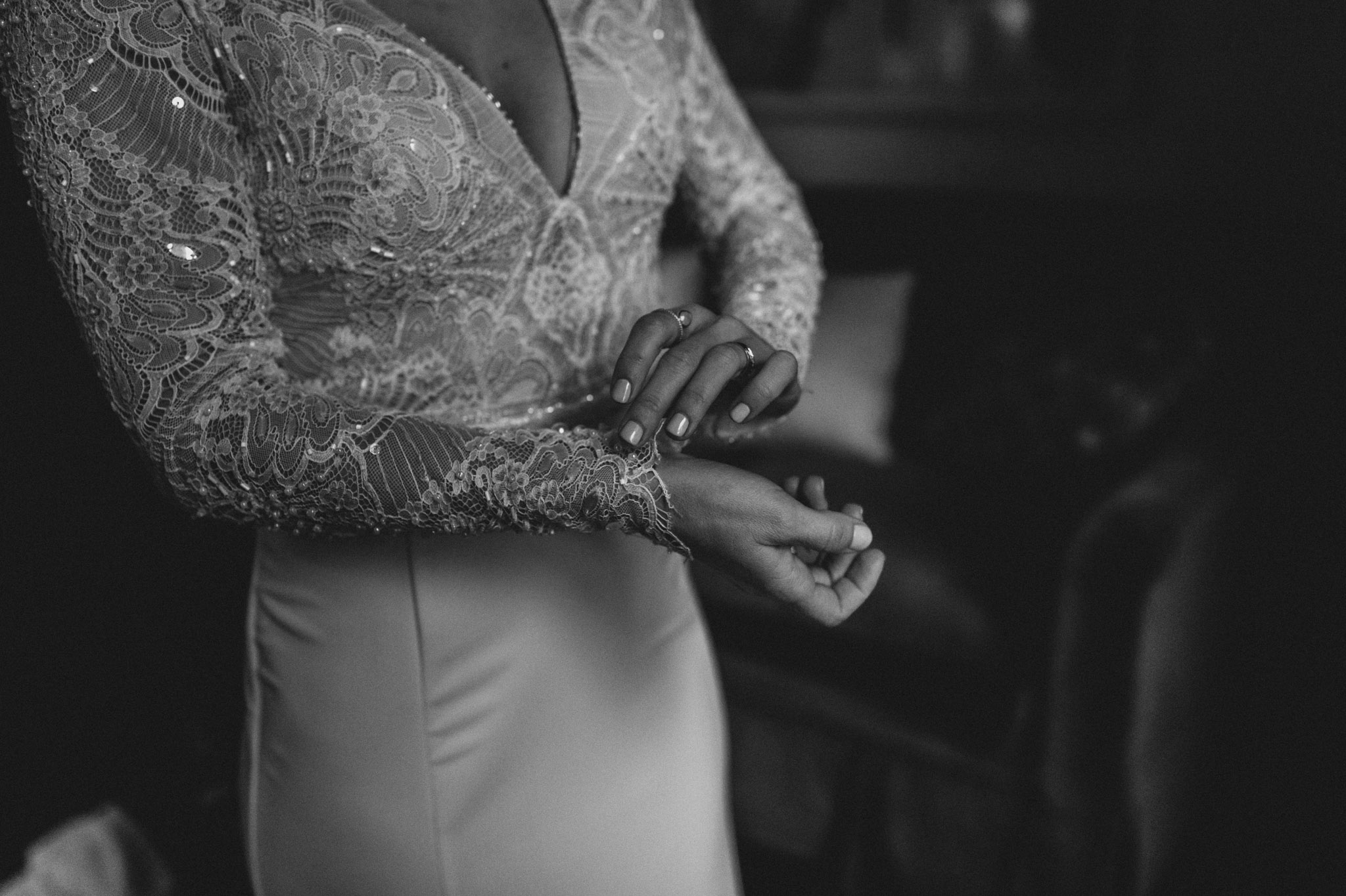 Downtown NYC Wedding - The Beekman Hotel - bride getting dressed