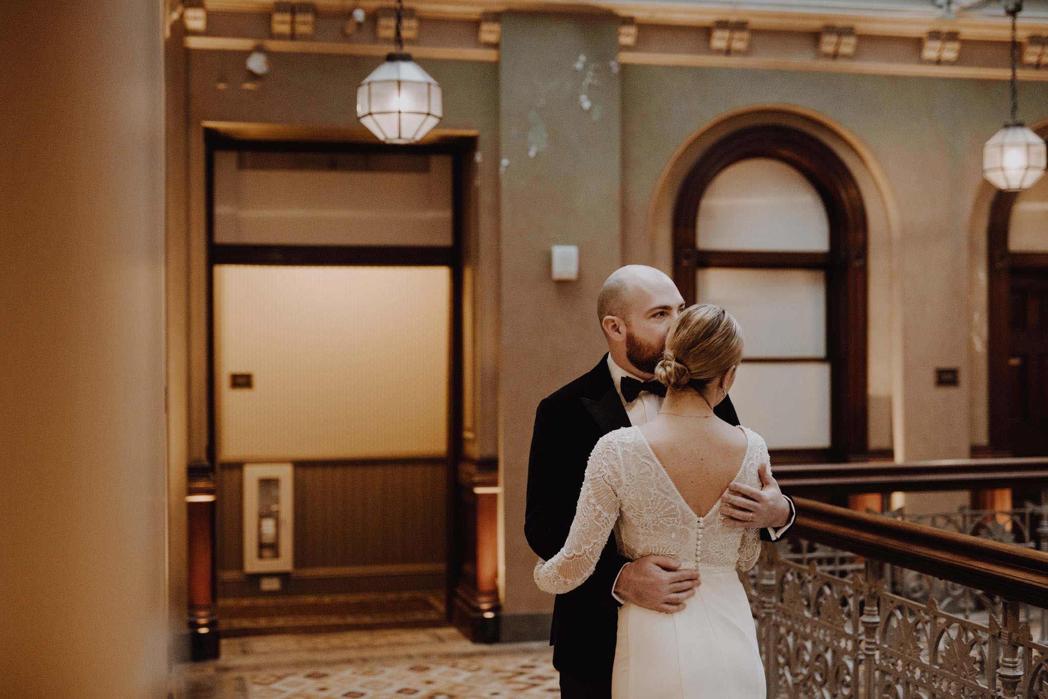 Downtown NYC Wedding - The Beekman Hotel - first look embrace