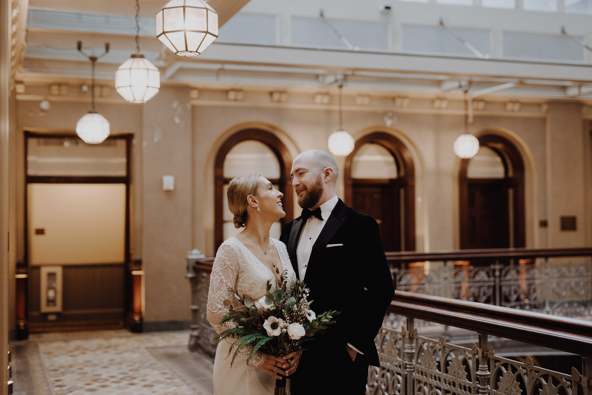 Downtown NYC Wedding - The Beekman Hotel - first look portraits
