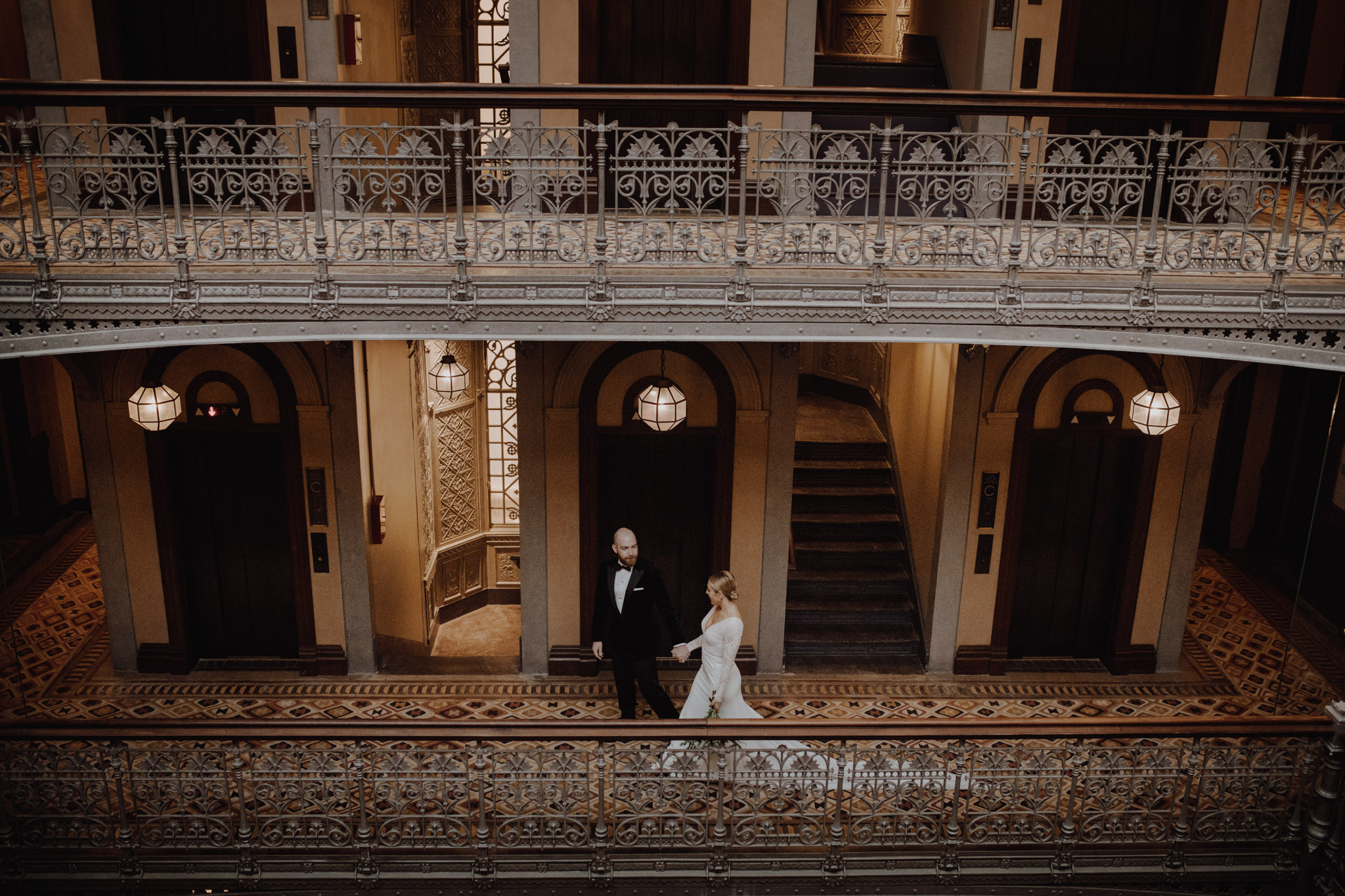 Downtown NYC Wedding - The Beekman Hotel - epic bridal portrait