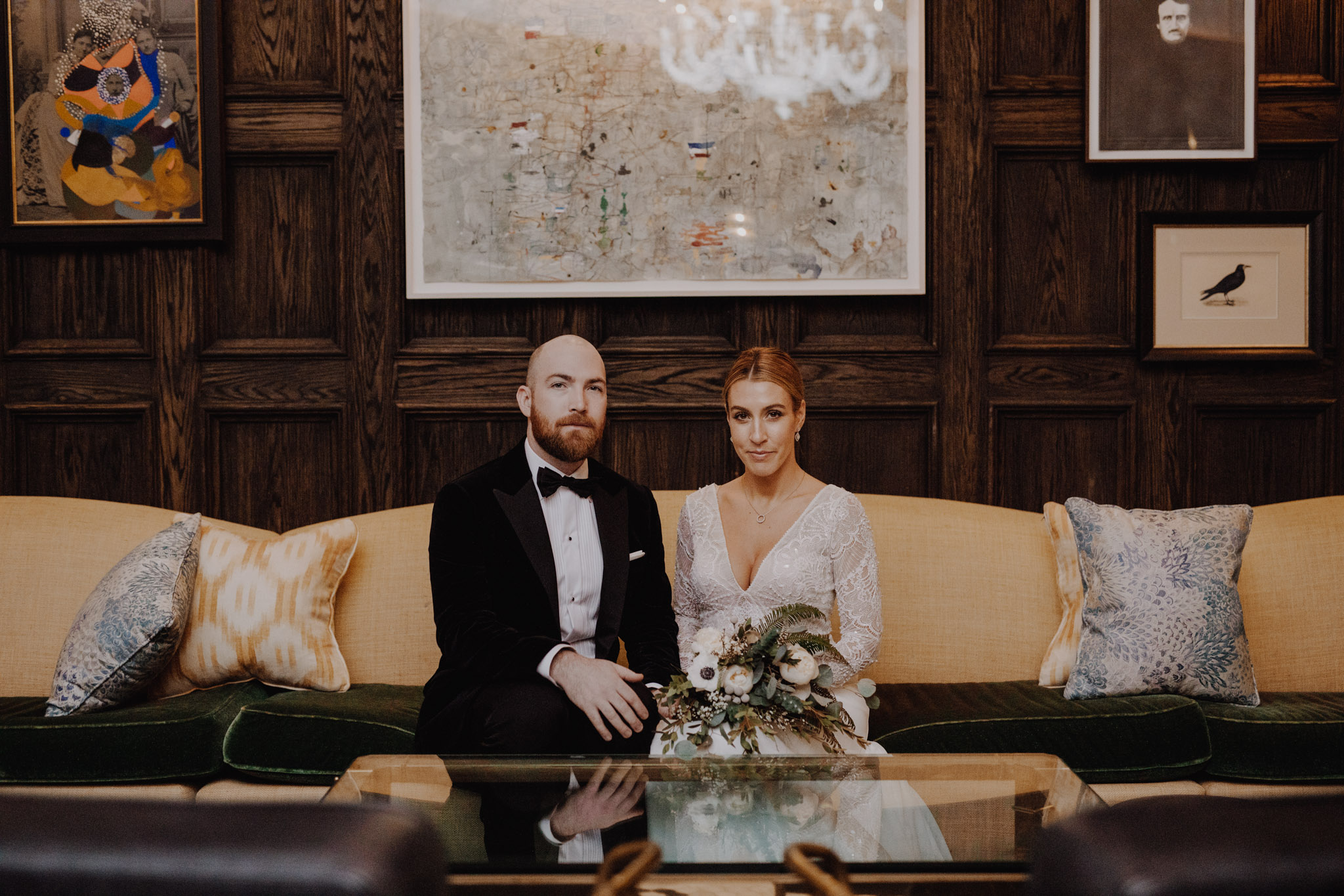 Downtown NYC Wedding - The Beekman Hotel - portraits in the lounge