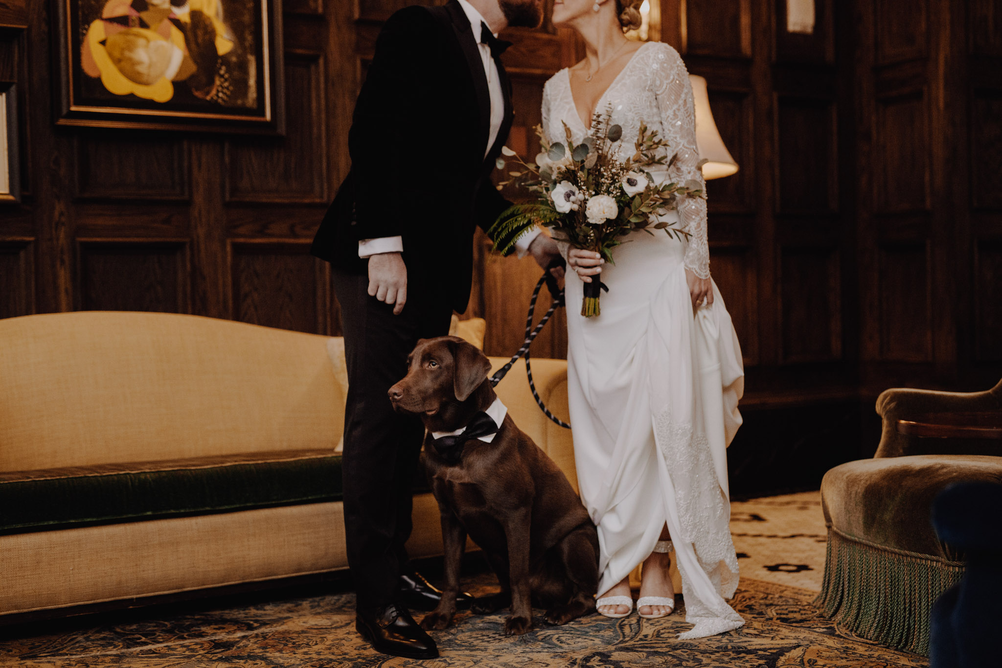 Downtown NYC Wedding - The Beekman Hotel - portrait with their dog