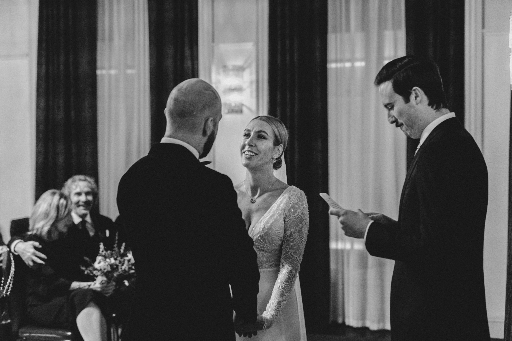Downtown NYC Wedding - The Beekman Hotel - laughs at the alter