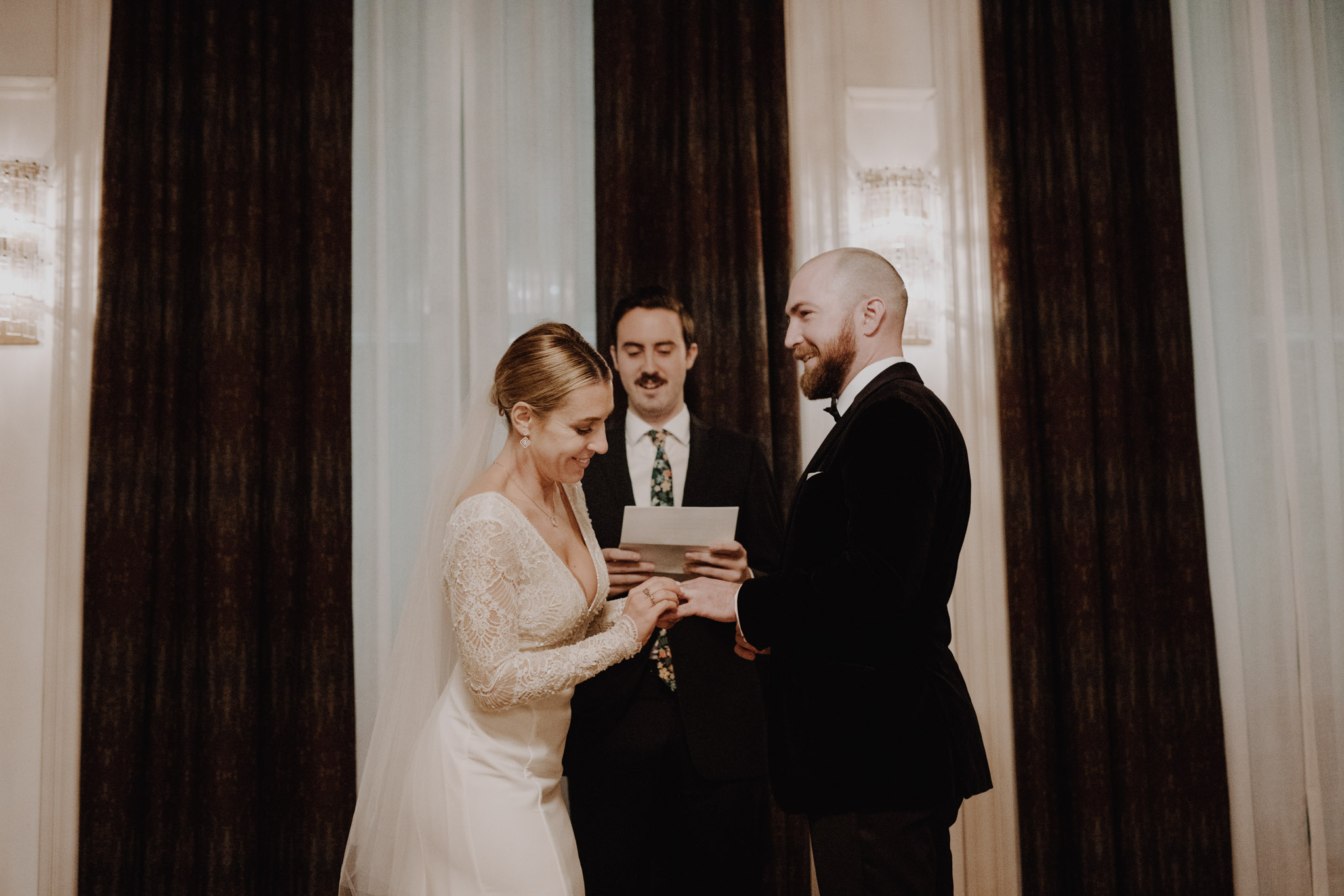 Downtown NYC Wedding - The Beekman Hotel - exchanging rings