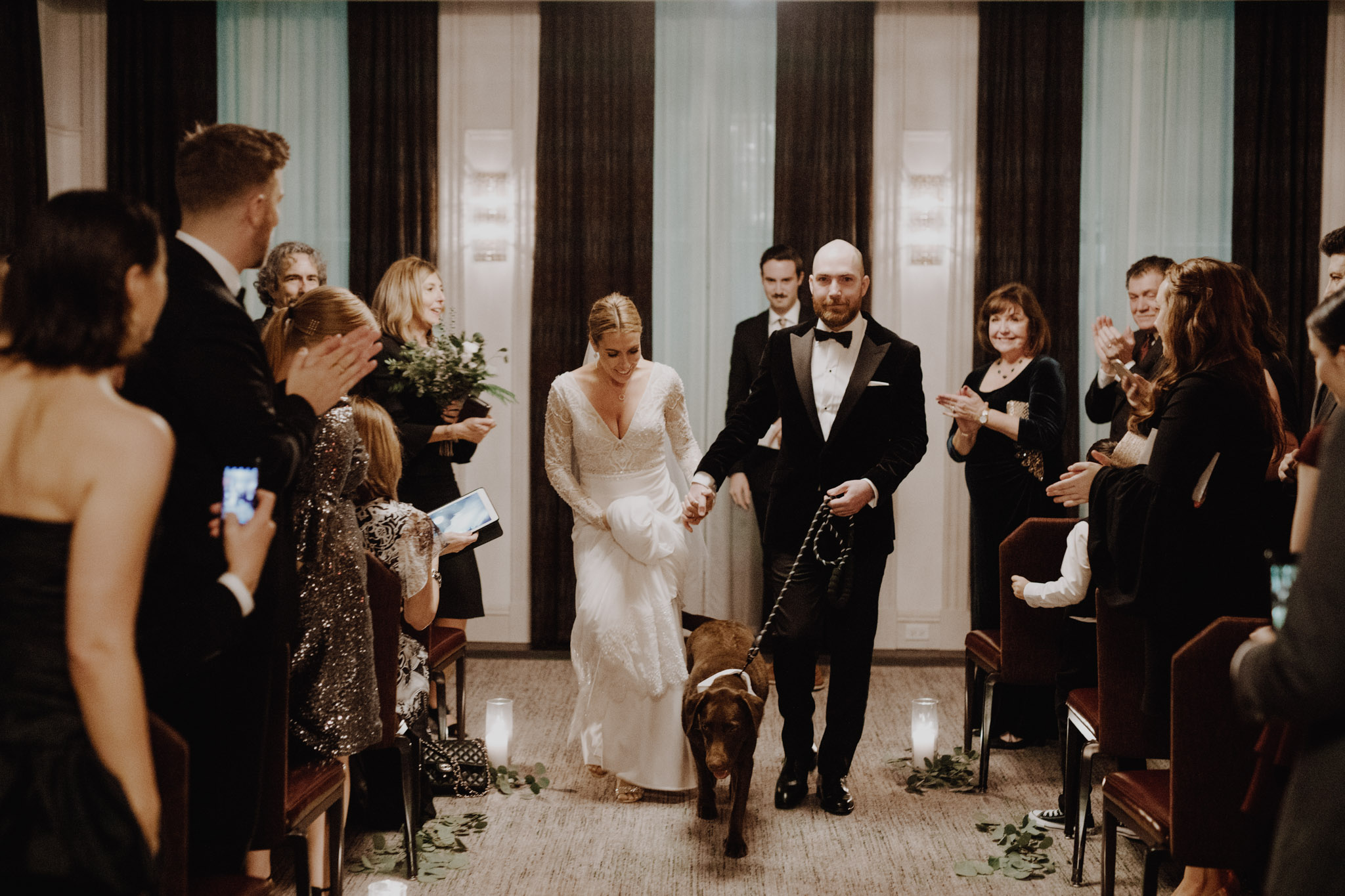 Downtown NYC Wedding - The Beekman Hotel - down the aisle with dog