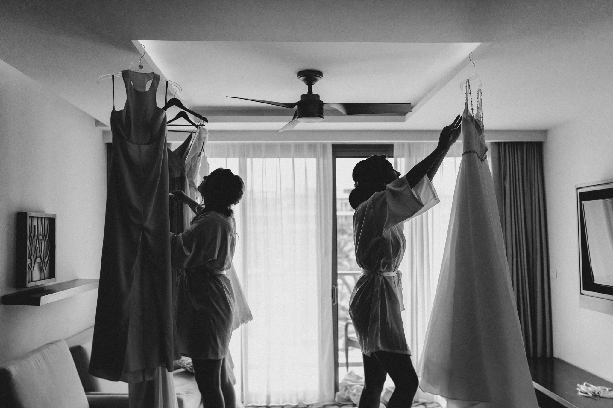 Cancun Mexico Wedding - hanging dresses