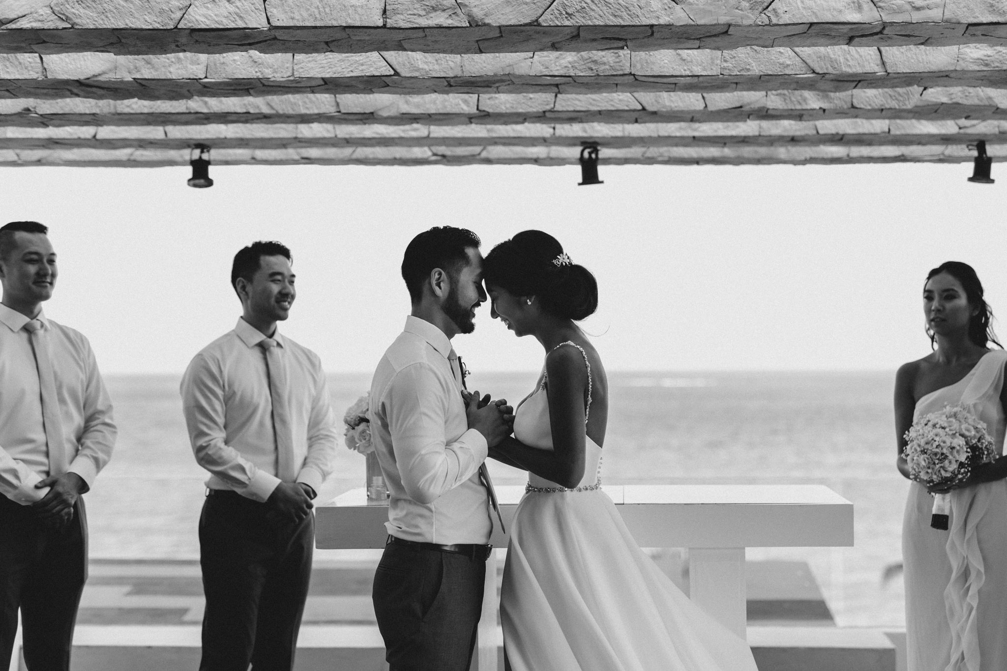 Cancun Mexico Wedding - sweet embrace at the alter