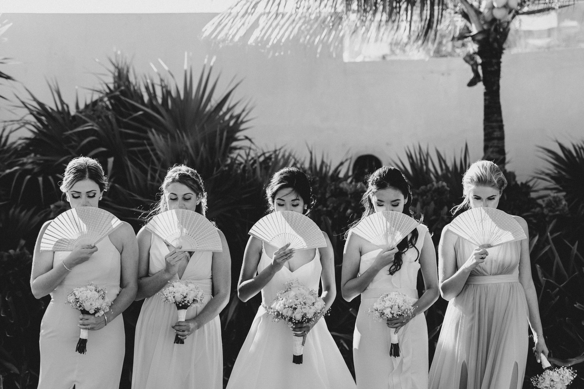 Cancun Mexico Wedding - bridal party with fans