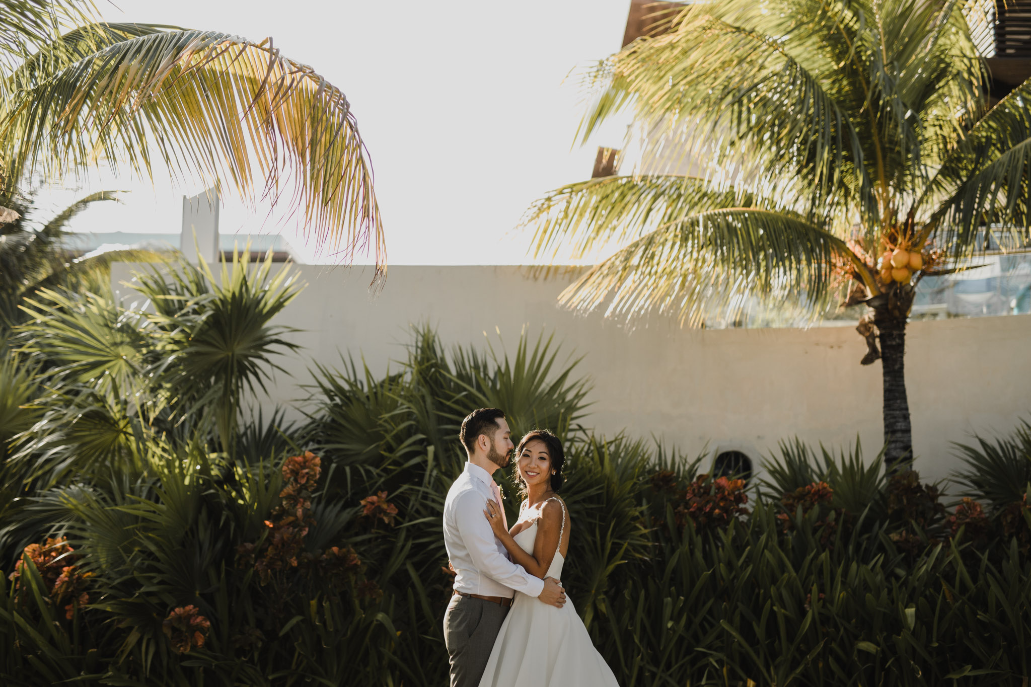 Cancun Mexico Wedding - bride and groom at the resort