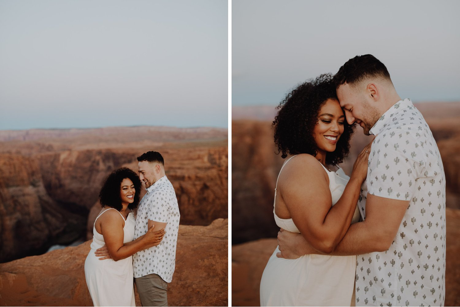 All White Horseshoe Bend Engagement