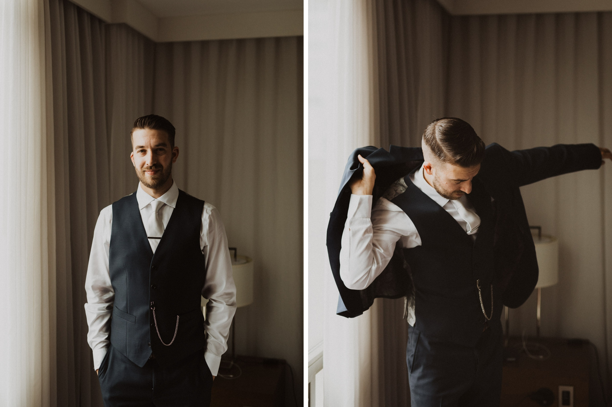 Greenhouse Elopement Allan Gardens Toronto - groom getting ready